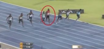 Usain Bolt SLIPS during 100m race