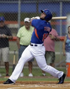 Tim Tebow hits a solo home run in his first at bat during the first inning of  his first instructional league baseball game for the New York Mets against the St. Louis Cardinals instructional club Wednesday, Sept. 28, 2016, in Port St. Lucie, Fla.  (AP Photo/Luis M. Alvarez)